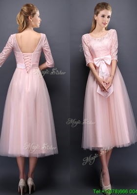 Most Popular Scoop Half Sleeves Baby Pink Bridesmaid Dress with Bowknot