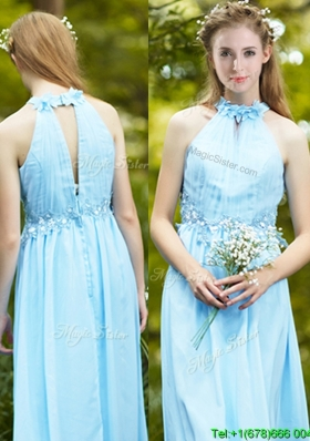 Discount Halter Top Light Blue Dama Dress with Appliques