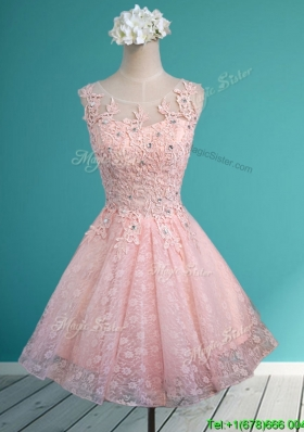 Best Scoop Beading and Appliques Short Dama Dress in Baby Pink