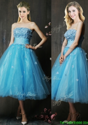 Lovely Strapless Applique Bust Baby Blue Dama Dress in Tea Length