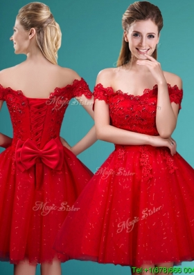 Wonderful Off the Shoulder Cap Sleeves Dama Dress with Beading and Bowknot