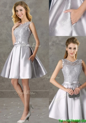 Classical Laced and Bowknot Scoop Bridesmaid Dress in Silver