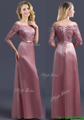 Sweet Off the Shoulder Half Sleeves Bridesmaid Dress with Lace and Belt