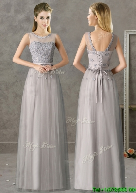 Cheap See Through Scoop Grey Long Bridesmaid Dress with Appliques