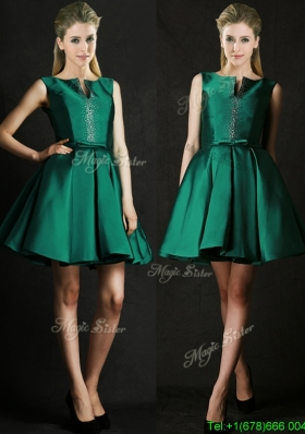 Classical A Line Green Short Bridesmaid Dress with Beading and Belt