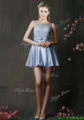 Fashionable Light Blue Short Bridesmaid Dress with Lace and Belt