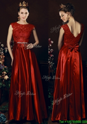 Cheap Scoop Laced and Bowknot Bridesmaid Dress in Wine Red