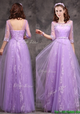 Popular Half Sleeves Lavender Bridesmaid Dress with Appliques and Beading