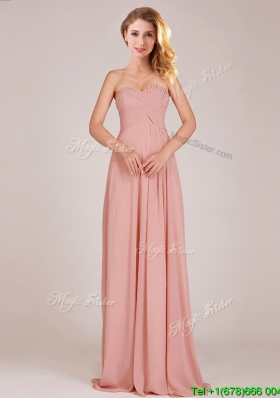 Fashionable Empire Chiffon Ruched Long Bridesmaid Dress in Peach