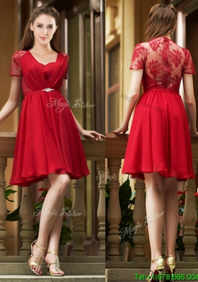 Elegant See Through Back Red Short Bridesmaid Dress with Short Sleeves