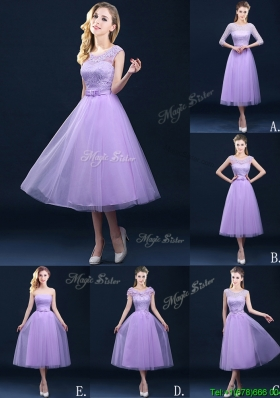 Exclusive A Line Tulle Lavender Bridesmaid Dress in Tea Length