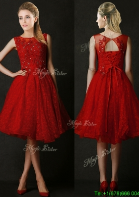 Modest Knee Length Red Bridesmaid Dress with Beading and Appliques