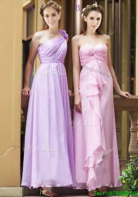Perfect Empire Ankle Length Zipper Up Bridesmaid Dress in Chiffon