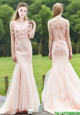 Luxurious See Through Light Pink Mermaid Bridesmaid Dress with Brush Train