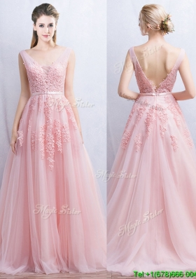 Lovely V Neck Applique and Belted Tulle Prom Dress in Baby Pink