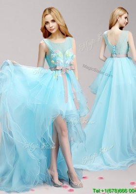 See Through Scoop High Low Prom Dress with Appliques and Bowknot