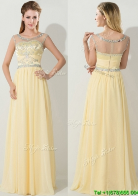 See Through Scoop Light Yellow Prom Dress with Beading