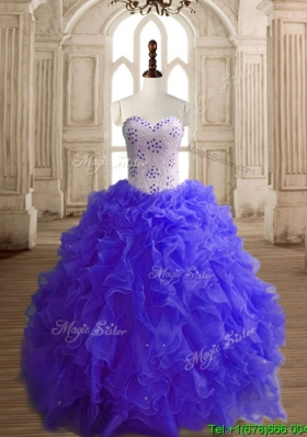 Most Popular Beaded Bodice and Ruffled Quinceanera Dress with Puffy Skirt
