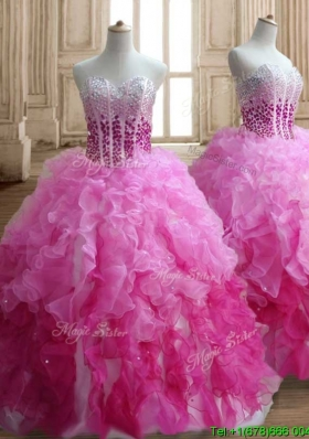 Visible Boning Beaded Bodice and Ruffled Quinceanera Dress in Gradient Color