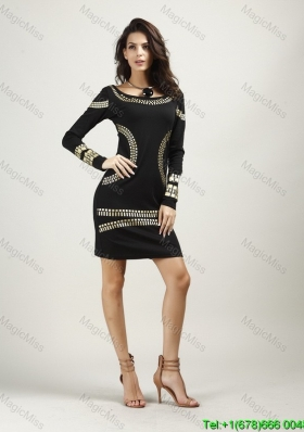 Round Neck Above Knee Black Long Sleeves Fashion Dress with Gold Print
