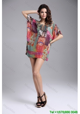 Print Above Knee Multi-color Batwing Sleeves Pullover Fashion Dress with Beading