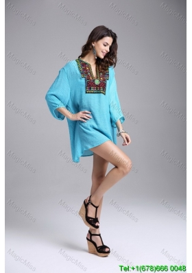 Aqua Blue Long Sleeves Pullover Fashion Dress with Embroidery