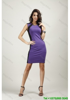 Round Neck Above Knee Purple Fashion Dress with Zipper Up