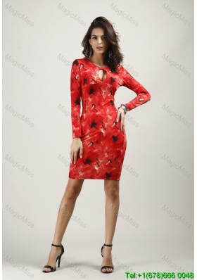 Print Knee-length Long Sleeves Red Fashion Dress with Zipper