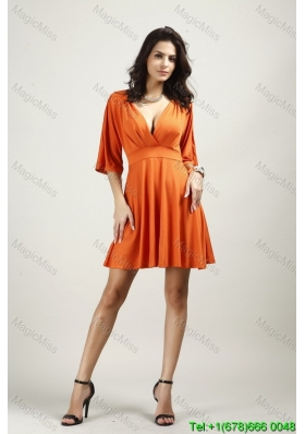 Cheap V-neck Above Knee Half Sleeves Backless Fashion Dress