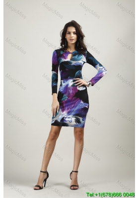Print Round Neck Above Knee Multi-color Long Sleeves Fashion Dress with Zipper Up