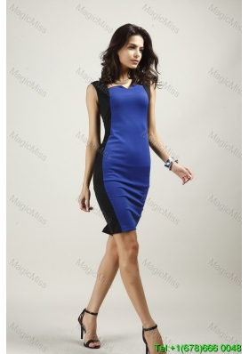Blue Round Neck Above Knee Fashion Dress for Summer