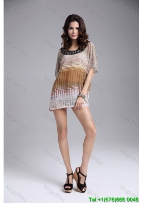 Pullover Round Neck Above Knee Batwing Sleeves Fashion Dresses in Multi-color