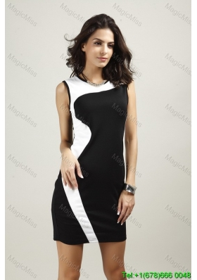 Simple Above Knee White and Black Fashion Dress with Zipper Up