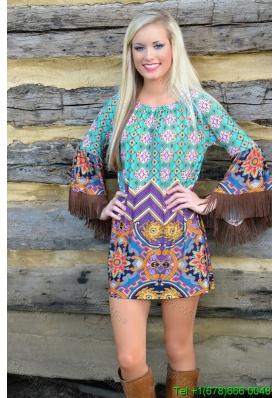 Boat Neck Above Knee Long Sleeves Tassels Beach Fashion Dress in Multi-color