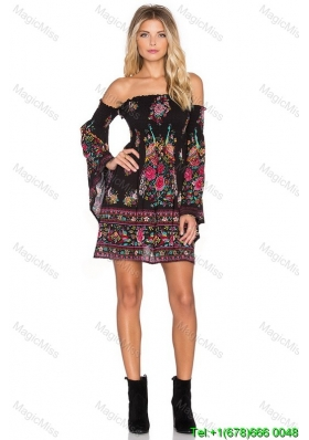 Unique Print Boat Neck Knee-length Long Sleeves Fashion Dresses