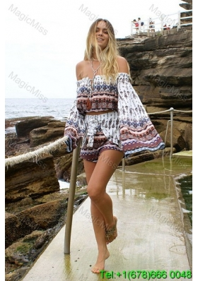 Print Boat Neck Above Knee Long Sleeves Multi-color Beach Fashion Dress