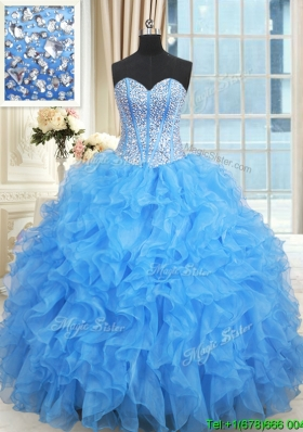 0601a157b12 Gorgeous Visible Boning Baby Blue Quinceanera Dress with Ruffles and Beaded  Bodice