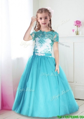 Best Scoop Short Sleeves Turquoise Little Girl Pageant Dress with Lace and Belt