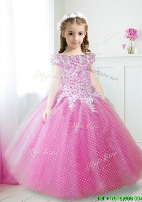 Cheap Off the Shoulder Cap Sleeves Little Girl Pageant Dress with Appliques and Beading