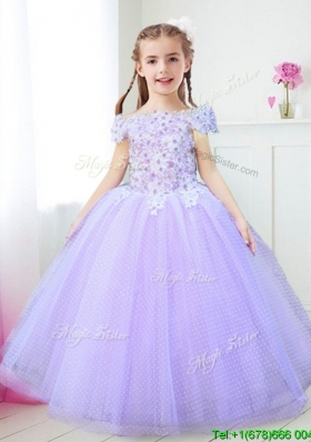 Modest Off the Shoulder Lavender Little Girl Pageant Dress with Appliques and Beading