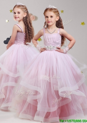 Lovely Straps Beaded and Ruffled Little Girl Pageant Dress in Baby Pink