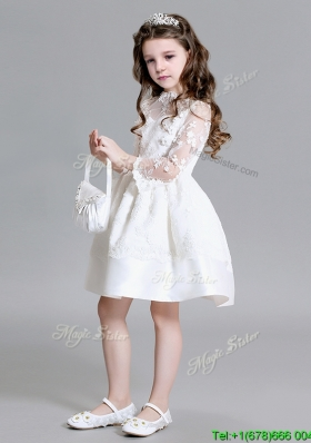Affordable High Neck Laced Flower Girl Dress with Long Sleeves
