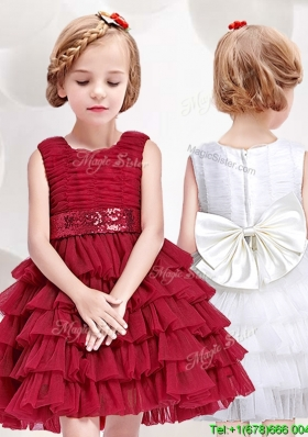 Simple Scoop Short Flower Girl Dress with Ruffled Layers and Bowknot