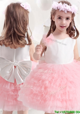 Classical Bowknot and Ruffled Layers Flower Girl Dress in Pink and White
