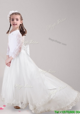 Popular Long Sleeves Bowknot and Laced Flower Girl Dress with Brush Train