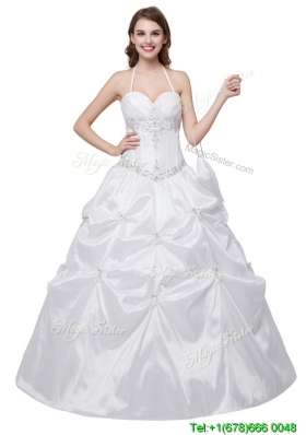 Elegant Puffy Halter Taffeta Beaded and Bubbles Quinceanera Dress in White