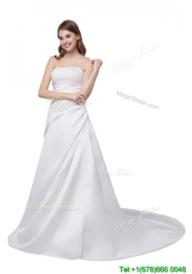 Princess Court Train Beaded White Wedding Dress for Church