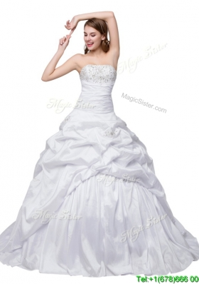 Puffy Sweetheart Brush Train White Wedding Dress with Beading and Pick Up