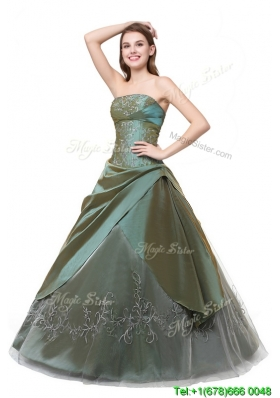 Puffy Strapless Organza Long Quinceanera Dress with Embroidery