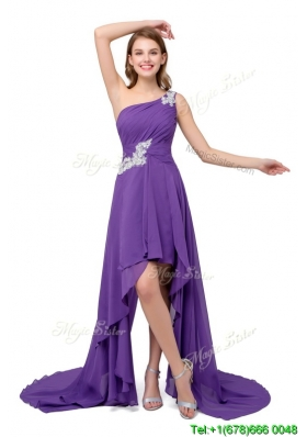 Fashionable One Shoulder Chiffon High-low Lace Up Prom Dresses in Purple